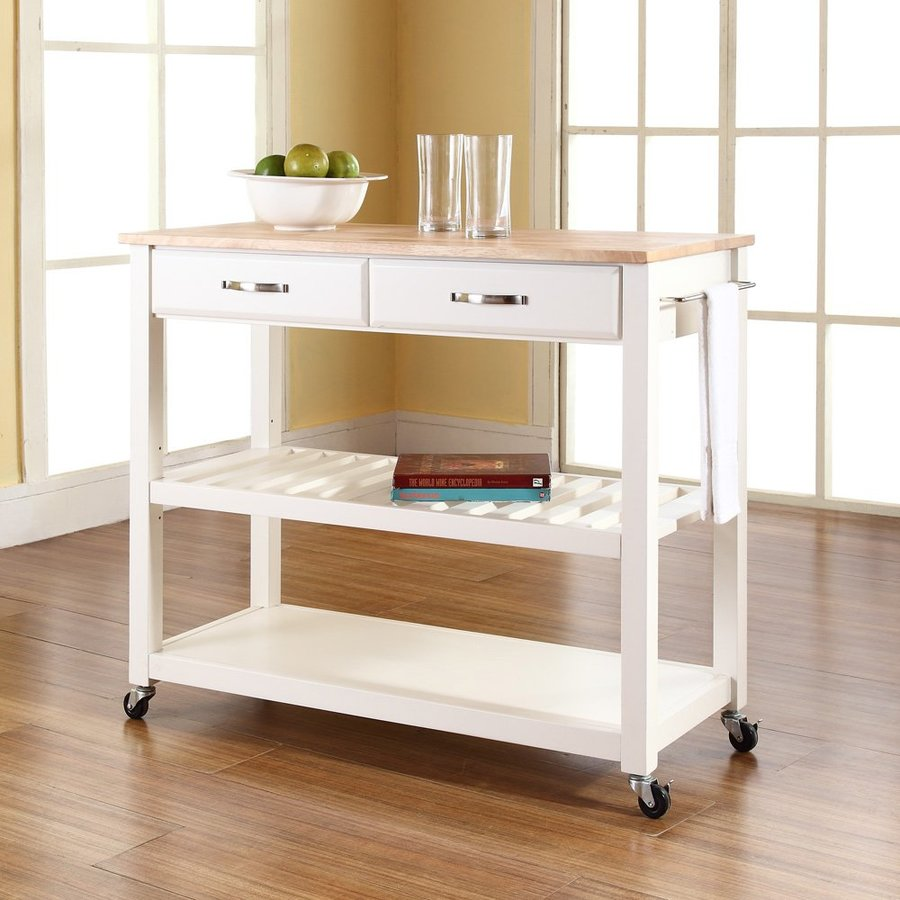 Shop crosley furniture white craftsman kitchen cart at Home styles natural designer utility cart