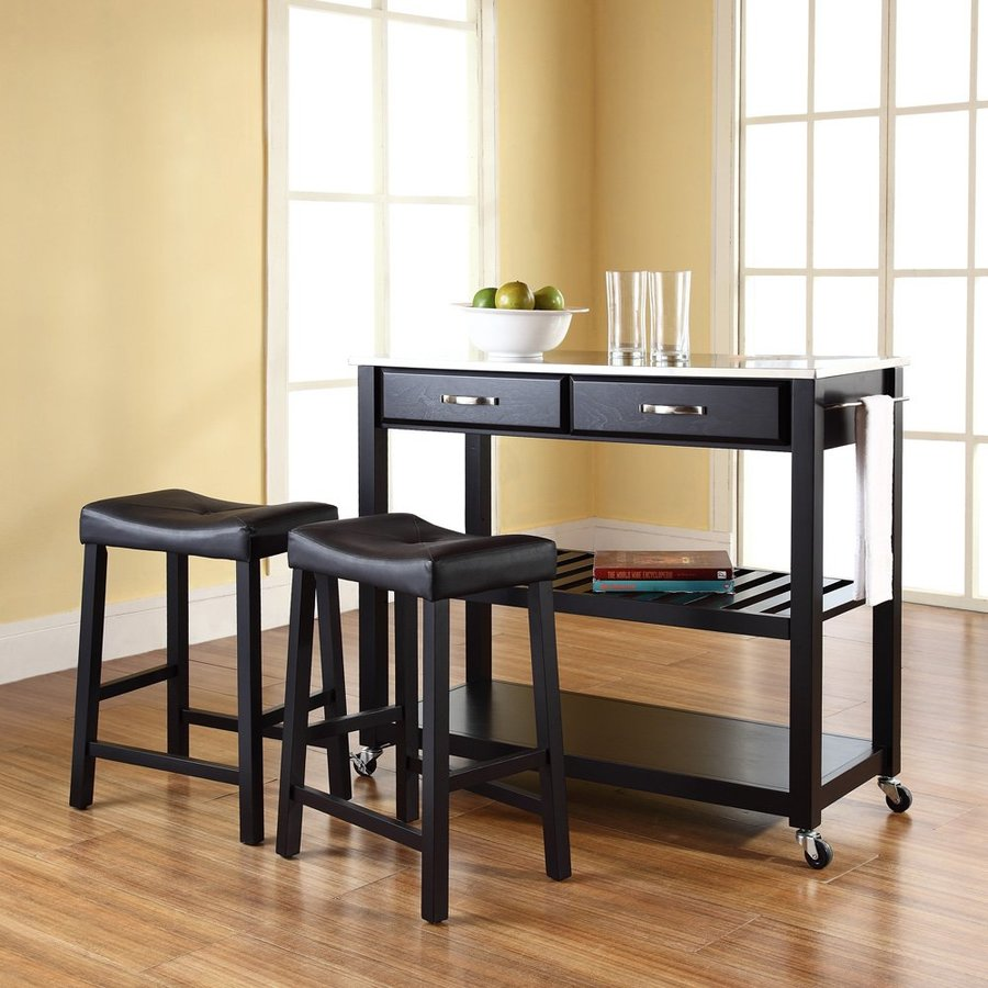 Crosley Furniture 42-in L x 18-in W x 36-in H Black Kitchen Island with Casters