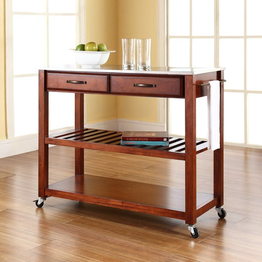 Crosley Furniture 43-in L x 18-in W x 35-in H Brown Kitchen Island with Casters
