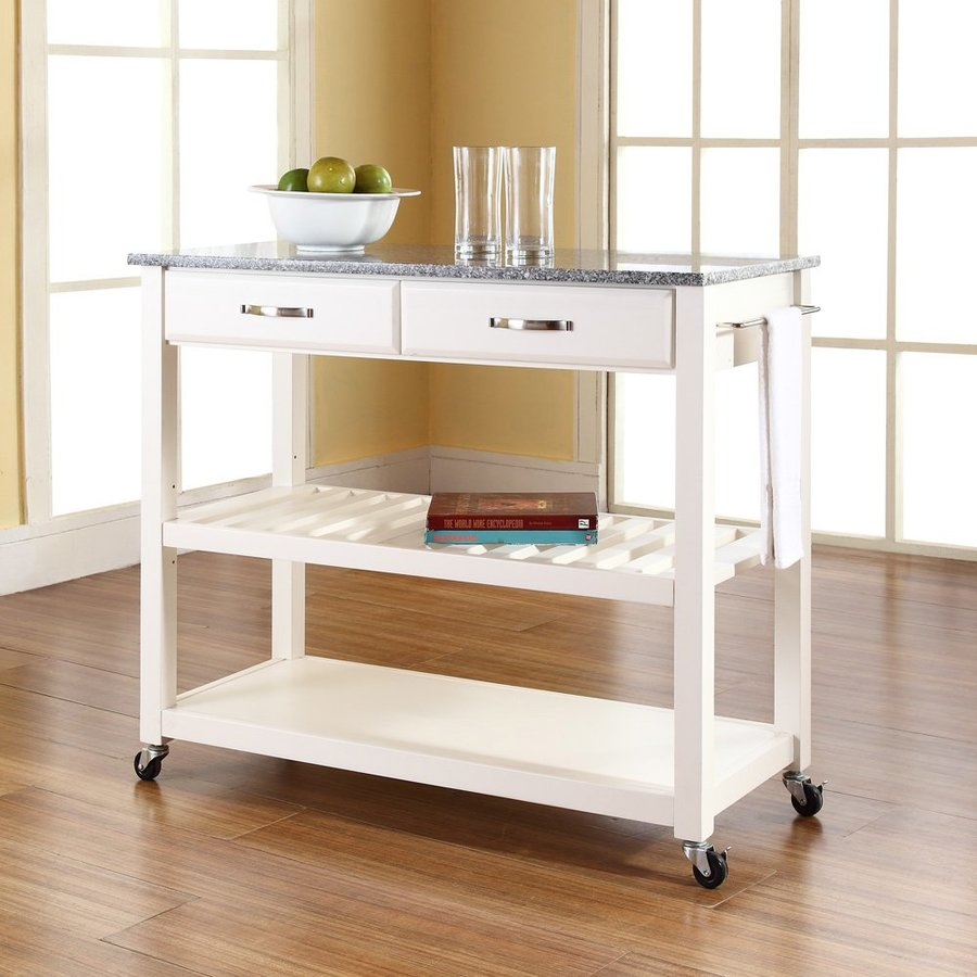 Crosley Furniture White Craftsman Kitchen Cart
