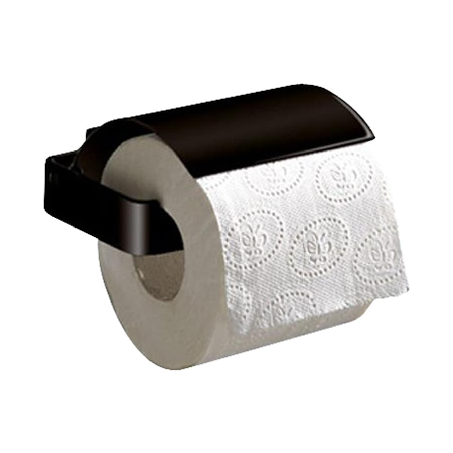 Nameeks Lounge Matte Black Surface Mount Toilet Paper Holder with Cover