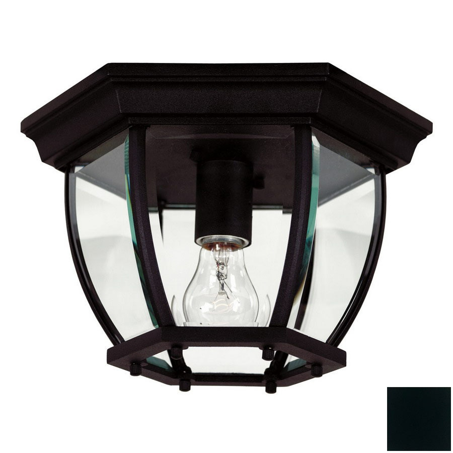 Shop outdoor flush mount lights at lowes kenroy home dural 11 in w black outdoor flush mount light arubaitofo Choice Image