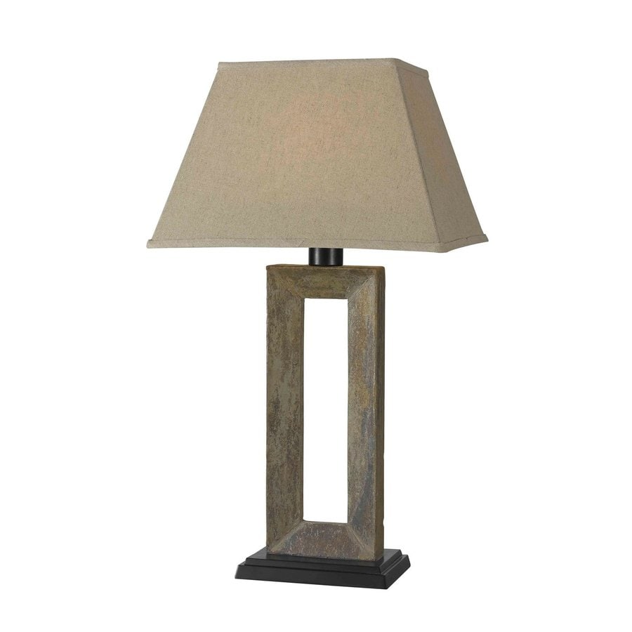 Kenroy Home Egress 29-in Slate Electrical Outlet Table Lamp with Fabric Shade