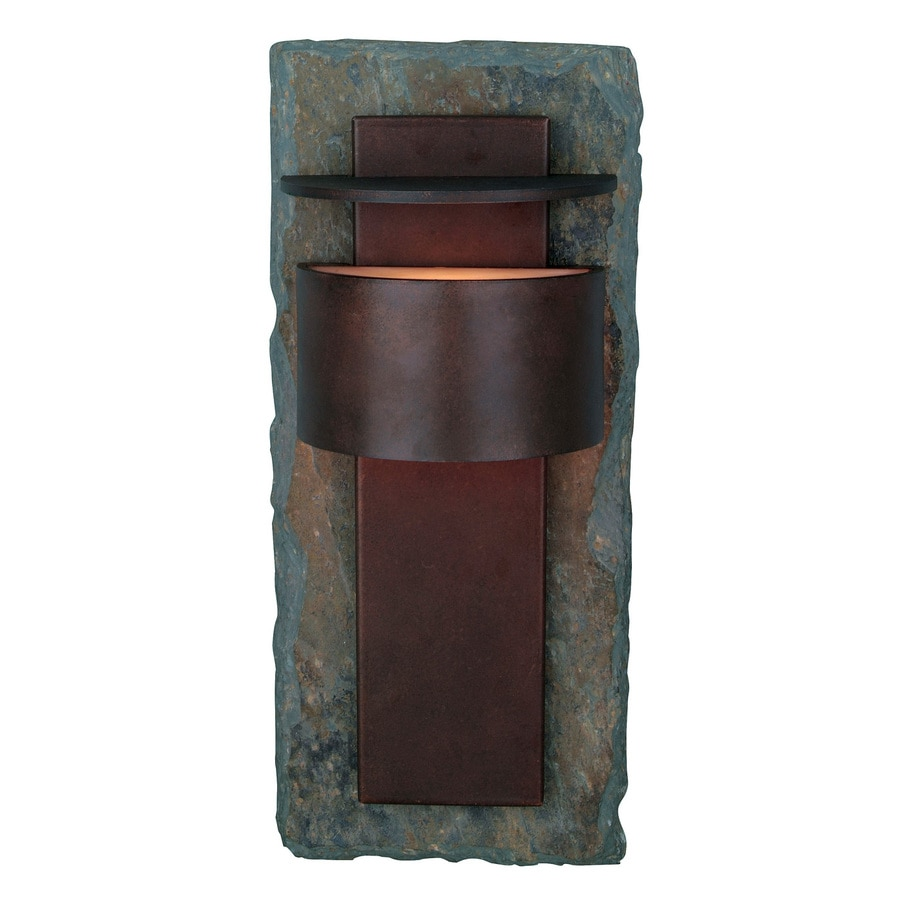 Kenroy Home Pembrooke 15-in H Natural Slate and Copper Outdoor Wall Light