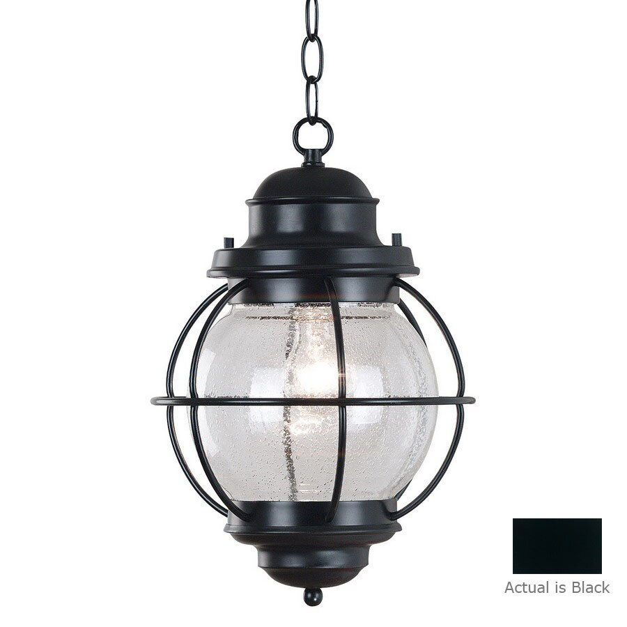 Kenroy Home Hatteras 16-in Black Hardwired Outdoor Pendant Light