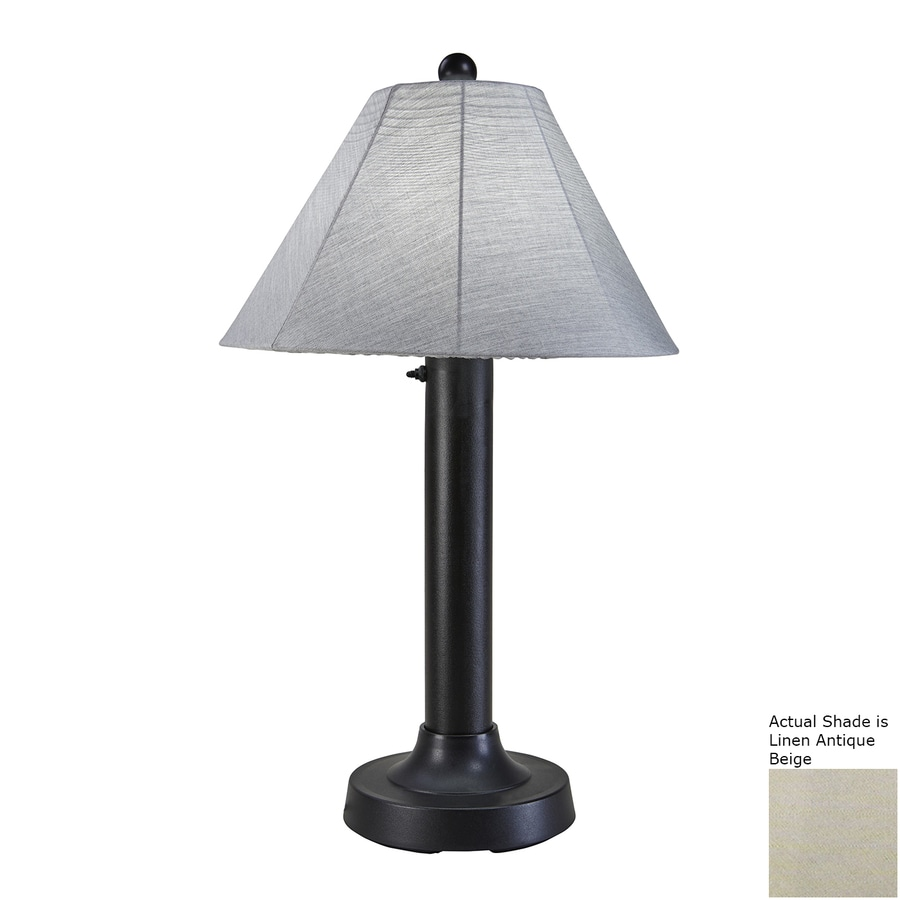 Patio Living Concepts Seaside 34-in Black Electrical Outlet Table Lamp with Fabric Shade
