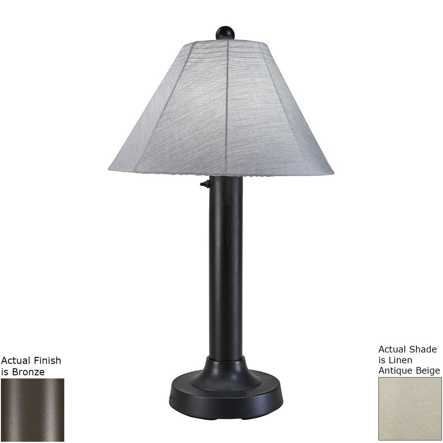 Patio Living Concepts Seaside 34-in Bronze Electrical Outlet Table Lamp with Fabric Shade