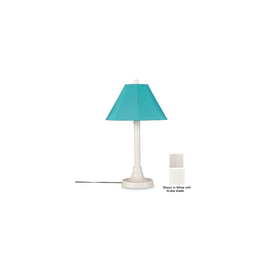 Patio Living Concepts 34-in White Outdoor Table Lamp with Fabric Shade