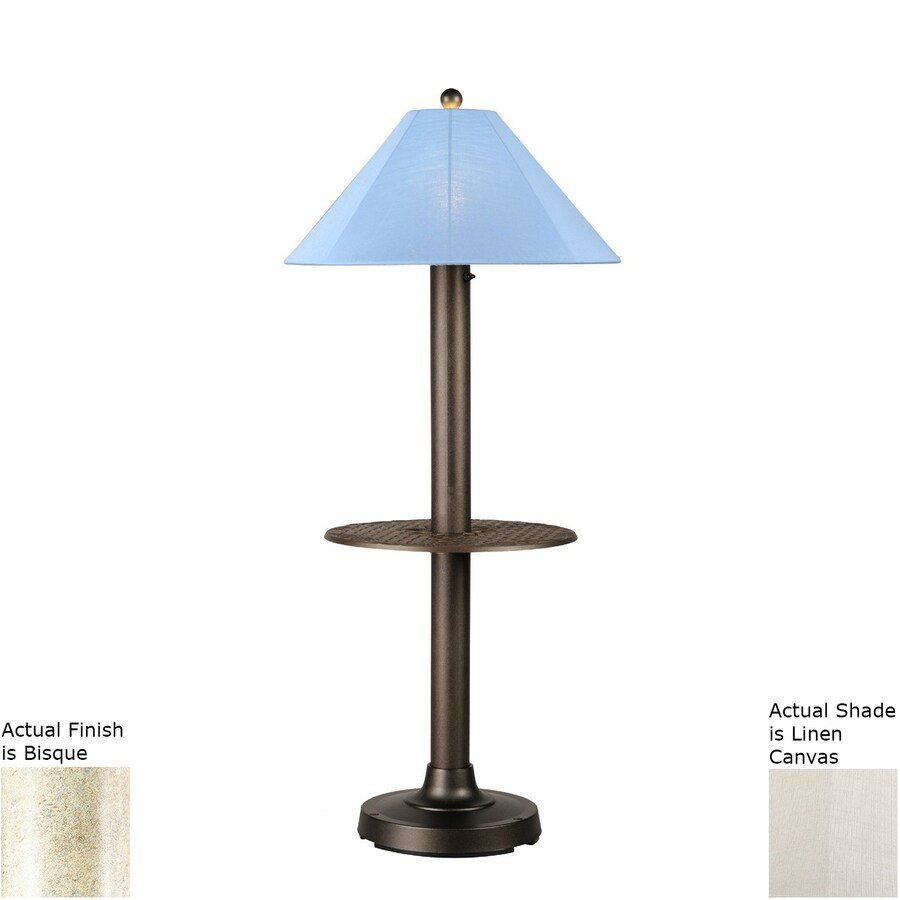 Patio Living Concepts Catalina Ii 63.5-in Bisque Built-in Table Floor Lamp with Linen Shade