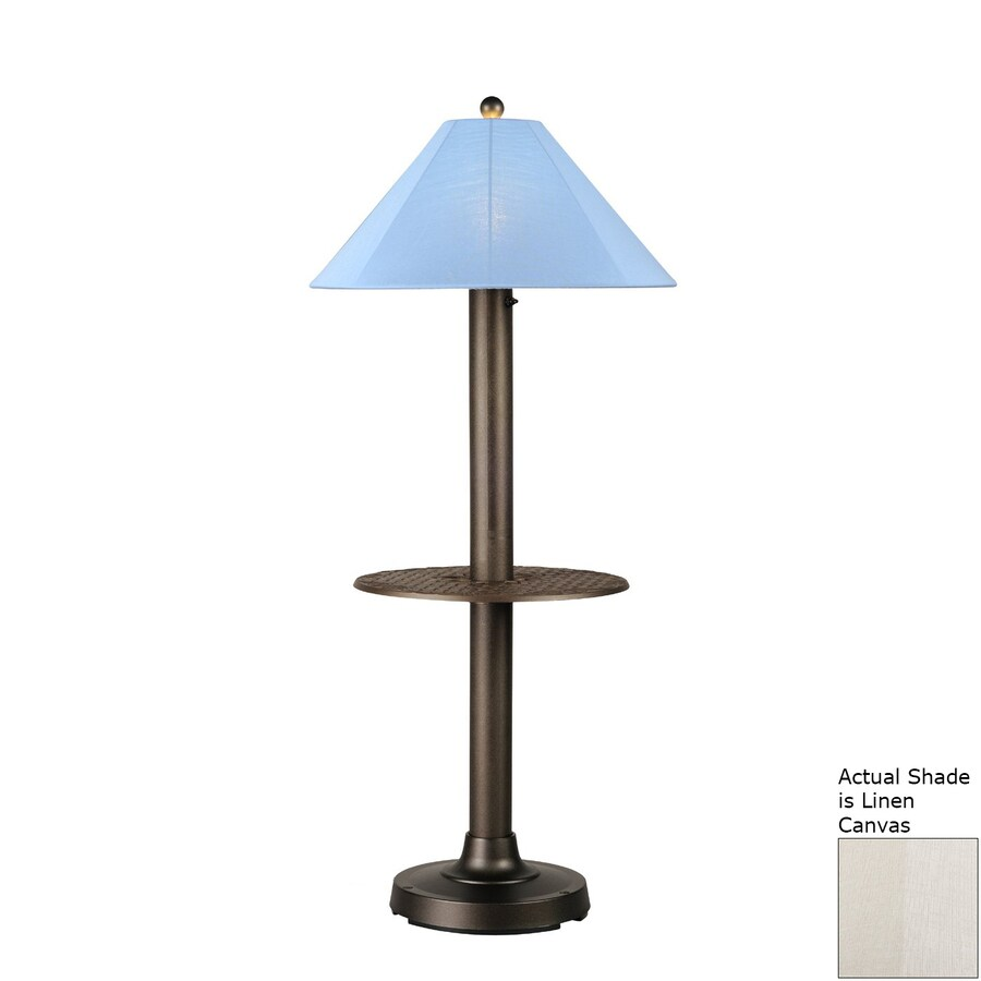 Patio Living Concepts Catalina Ii 63.5-in Bronze Built-in Table Floor Lamp with Linen Shade