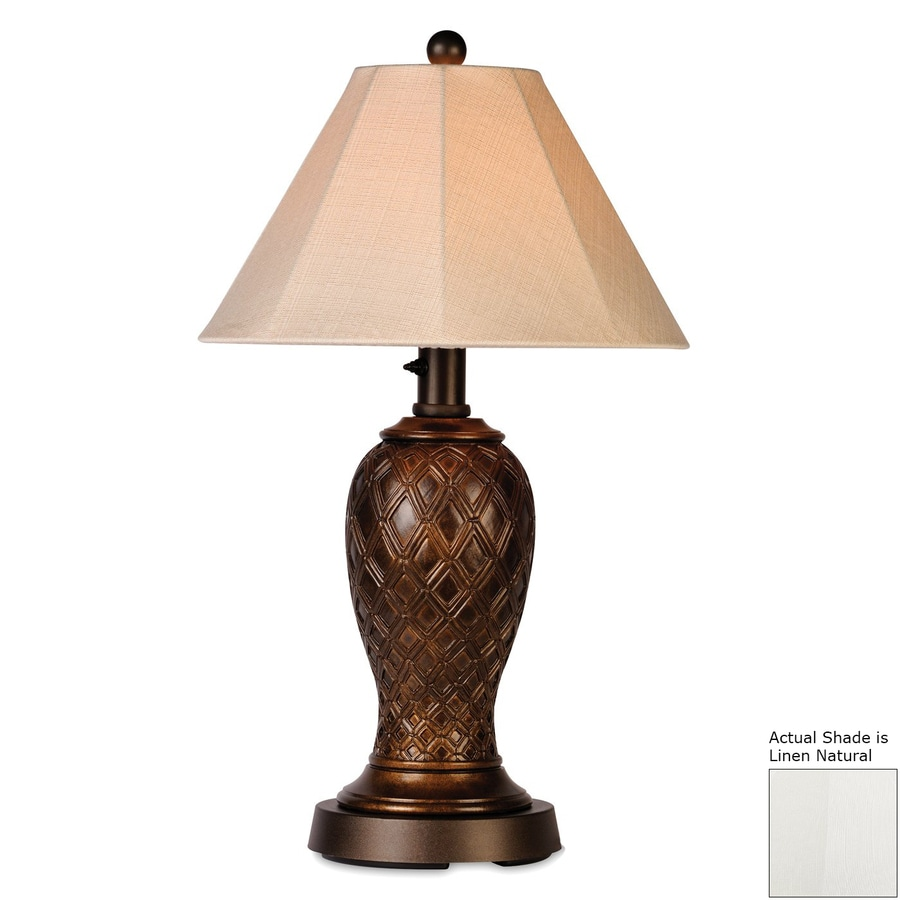 Patio Living Concepts Monterey 34-in Bronze Electrical Outlet Table Lamp with Fabric Shade