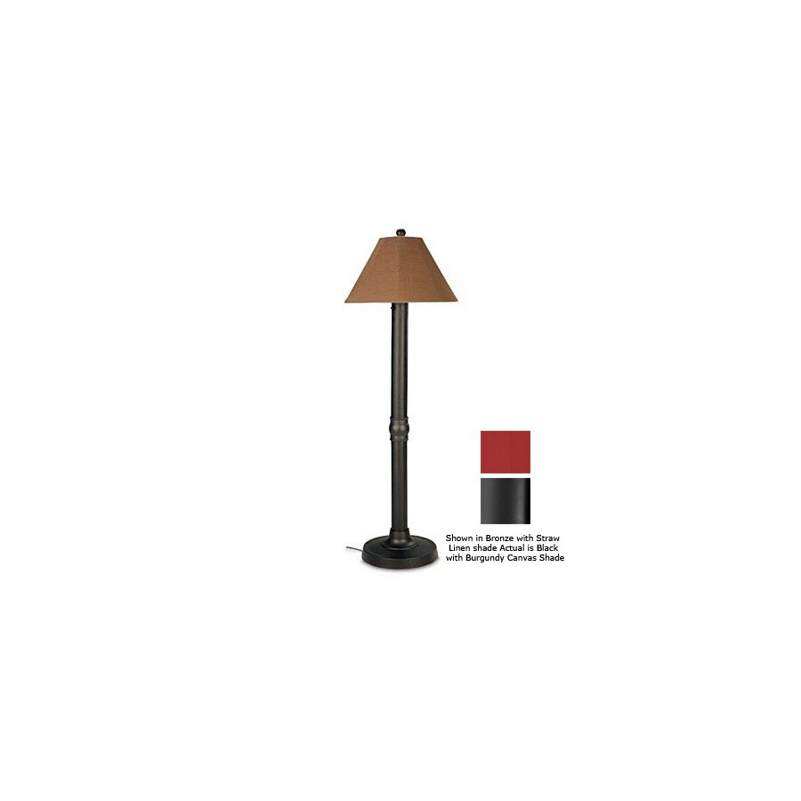 Patio Living Concepts 60-in H Black Outdoor Floor Lamp with Fabric Shade