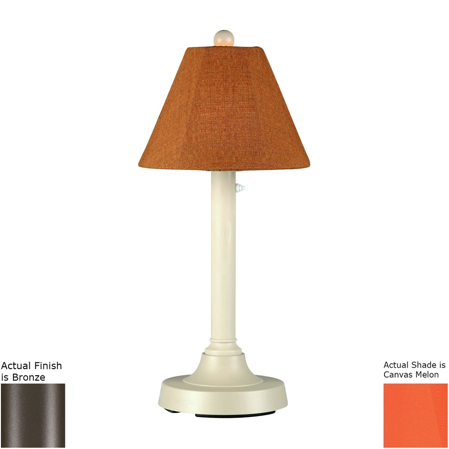 Patio Living Concepts San Juan 30-in Bronze Electrical Outlet Table Lamp with Fabric Shade