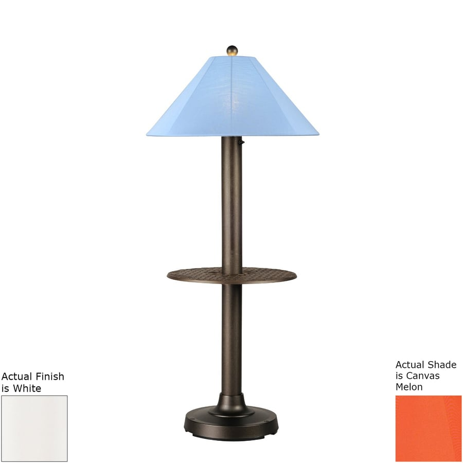 Patio Living Concepts Catalina Ii 63.5-in White Built-in Table Floor Lamp with Fabric Shade
