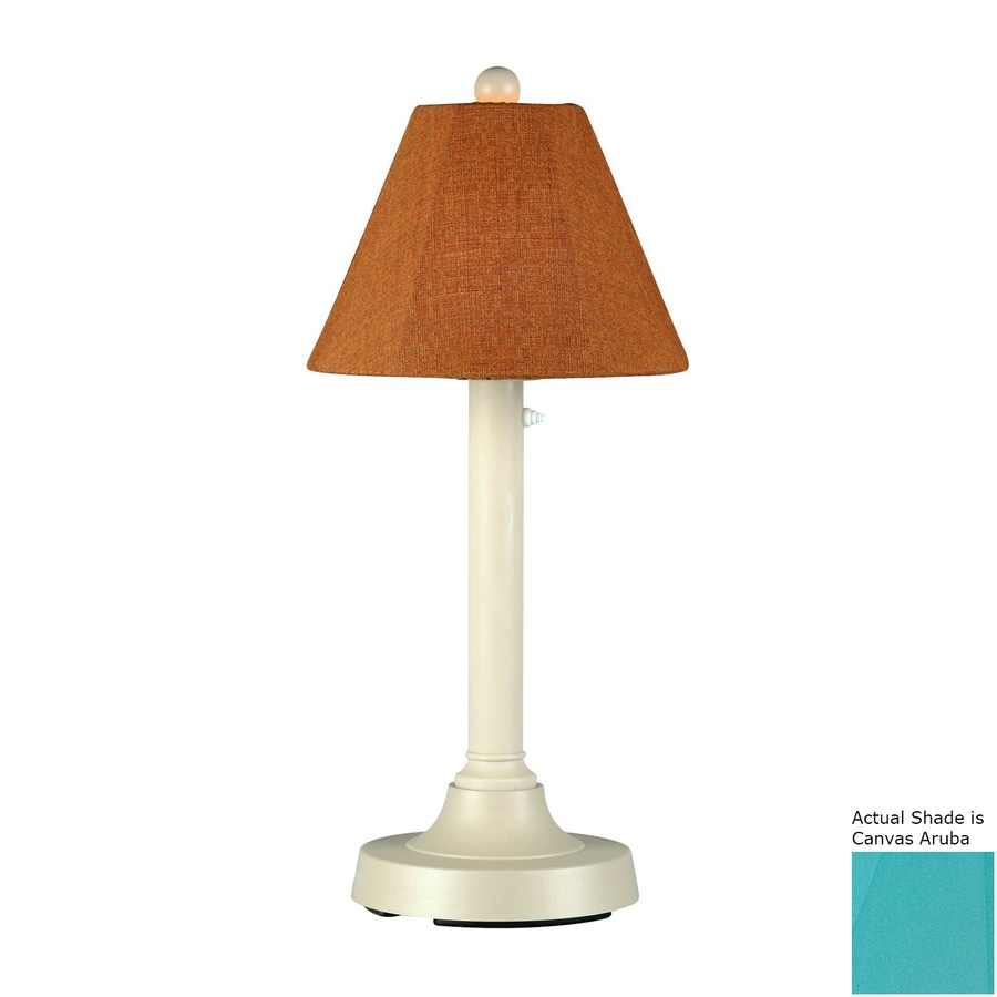 Patio Living Concepts San Juan 30-in Bisque Electrical Outlet Table Lamp with Fabric Shade