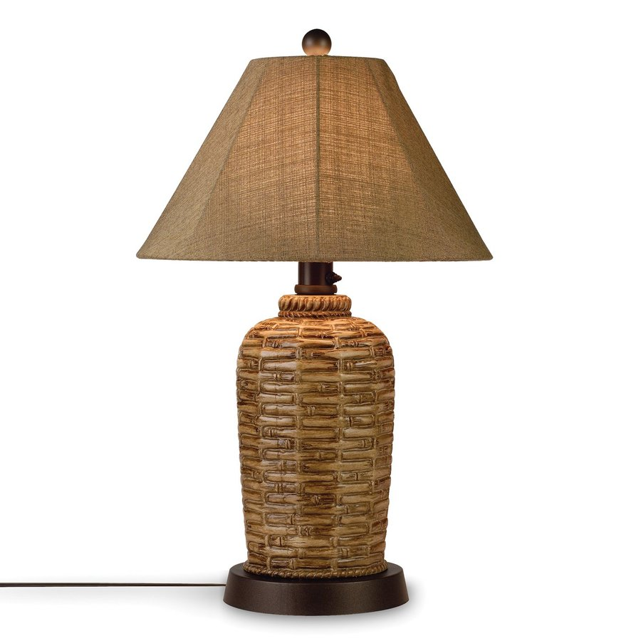 Patio Living Concepts 34-in Bamboo Outdoor Table Lamp with Fabric Shade