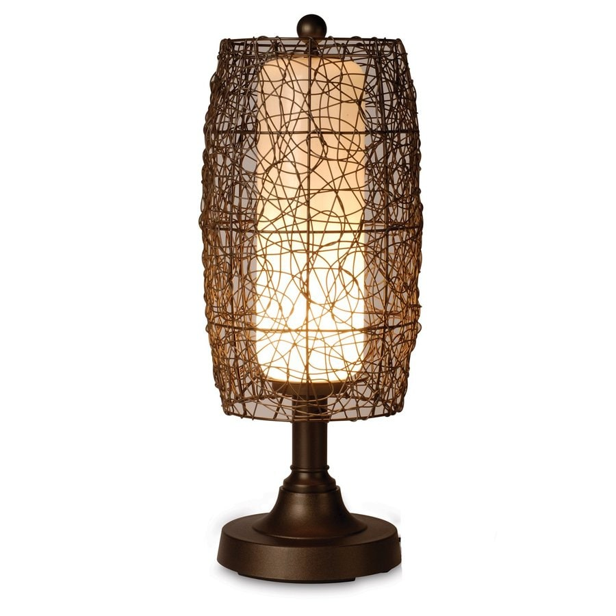 Patio Living Concepts Bristol 30-in Bronze Electrical Outlet Table Lamp with Fabric Shade