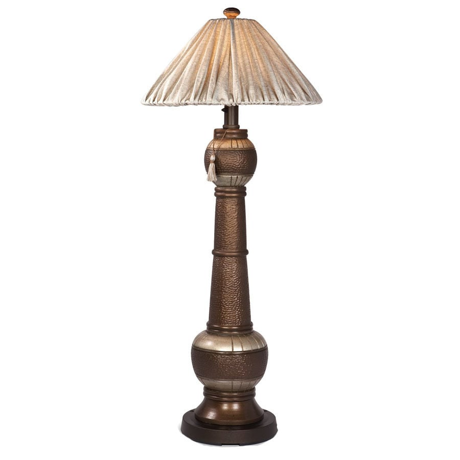 Patio Living Concepts 60-in H Bronze/Silver Outdoor Floor Lamp with Fabric Shade
