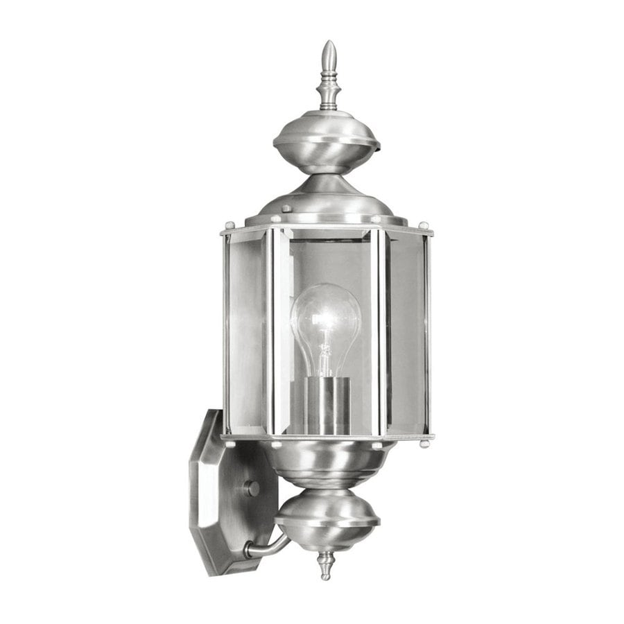 Livex Lighting Outdoor Basics 17-in H Brushed Nickel Medium Base (E-26) Outdoor Wall Light
