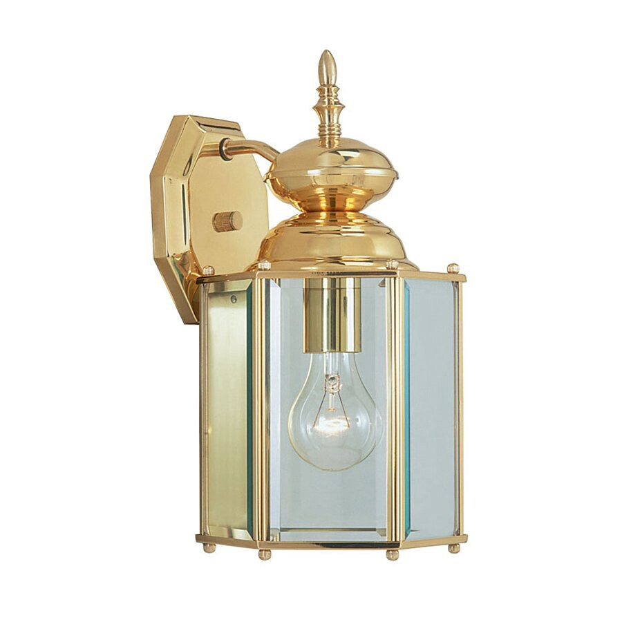 Livex Lighting Basics 13-in H Polished Brass Outdoor Wall Light