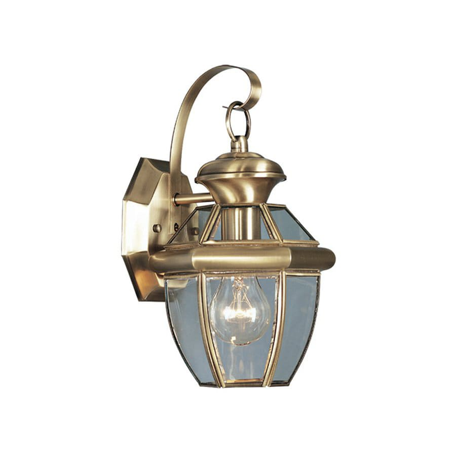 Livex Lighting Monterey 12.5-in H Antique Brass Outdoor Wall Light