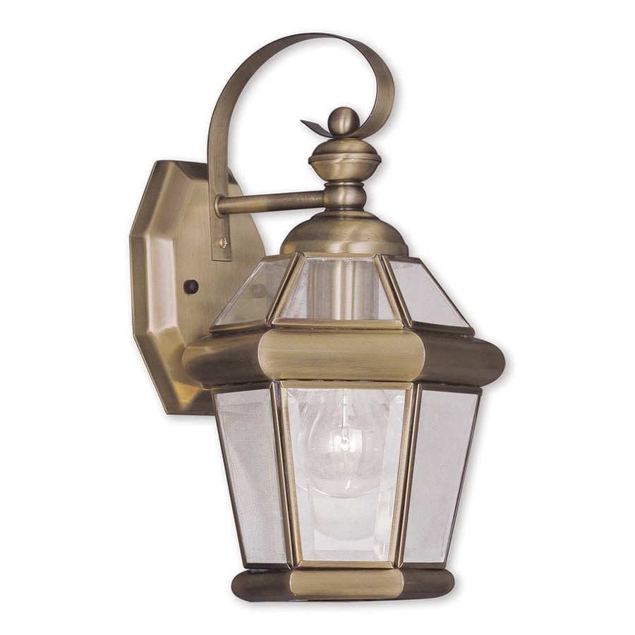 Livex Lighting Georgetown 11-in H Antique Brass Outdoor Wall Light
