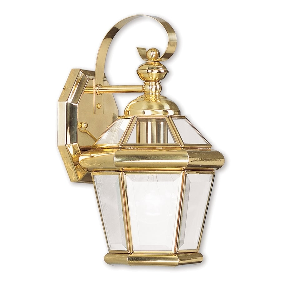 Livex Lighting Georgetown 11-in H Polished Brass Medium Base (E-26) Outdoor Wall Light