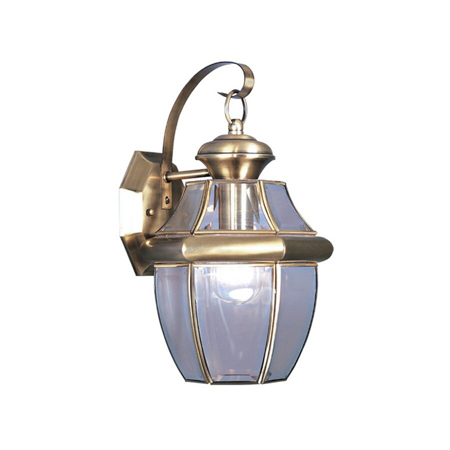 Livex Lighting Monterey 13-in H Antique Brass Medium Base (E-26) Outdoor Wall Light