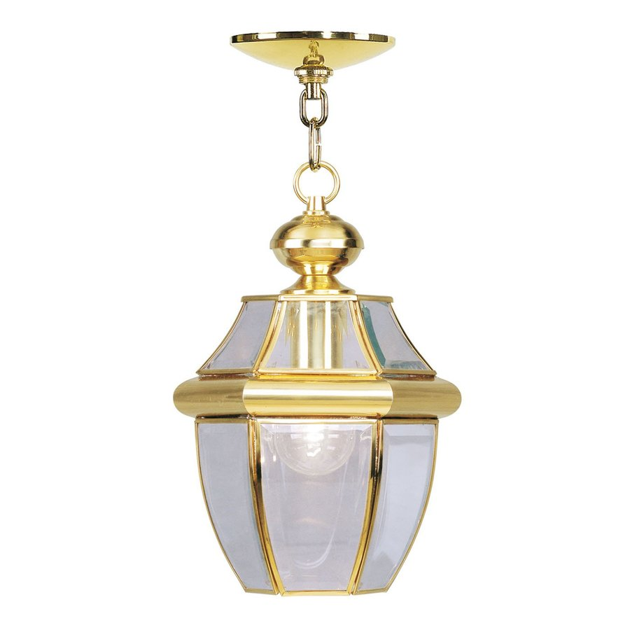 Livex Lighting Monterey 12.75-in Polished Brass Outdoor Pendant Light