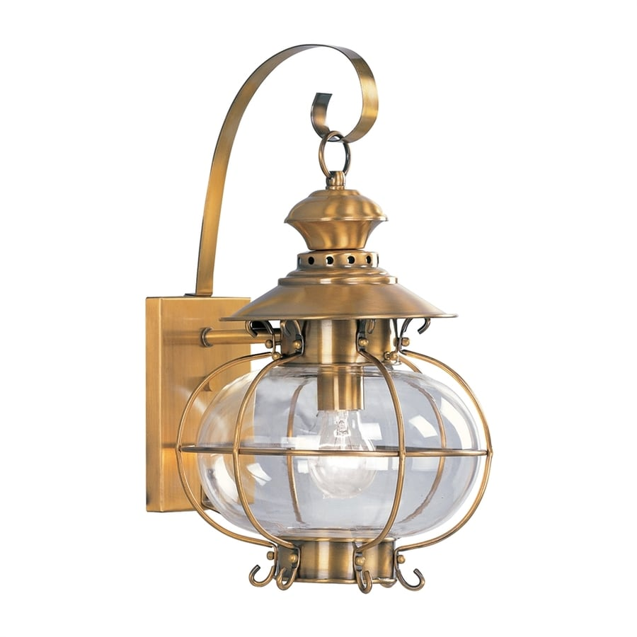 Livex Lighting Harbor 17.75-in H Flemish Brass Outdoor Wall Light