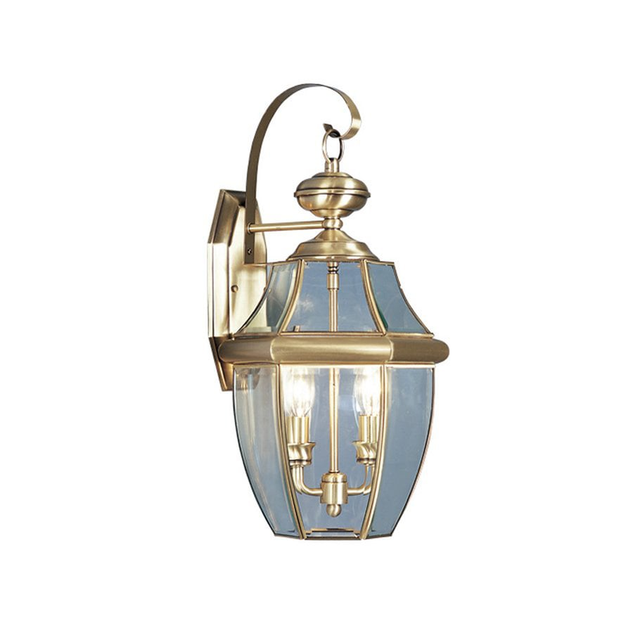 Livex Lighting Monterey 20.25-in H Antique Brass Candelabra Base (E-12) Outdoor Wall Light