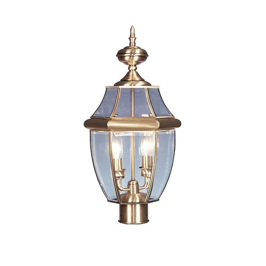 Livex Lighting Monterey 21.5-in H Antique Brass Post Light
