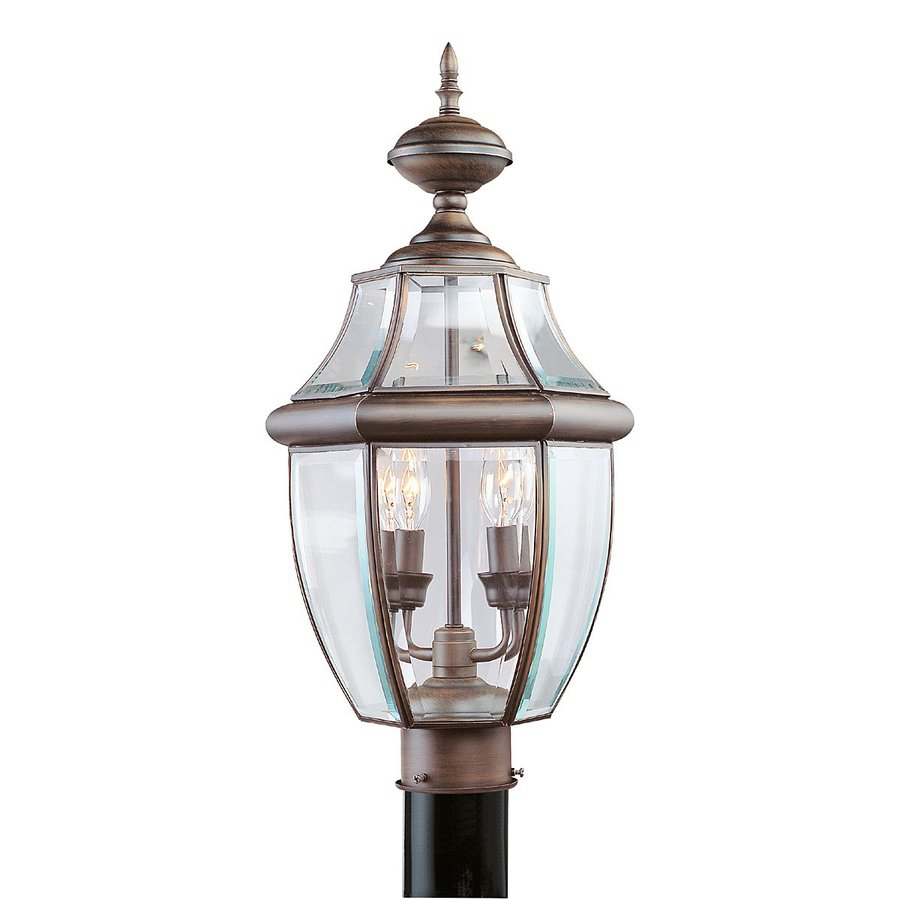Shop livex lighting monterey 215 in h imperial bronze for Lamp post light lowes