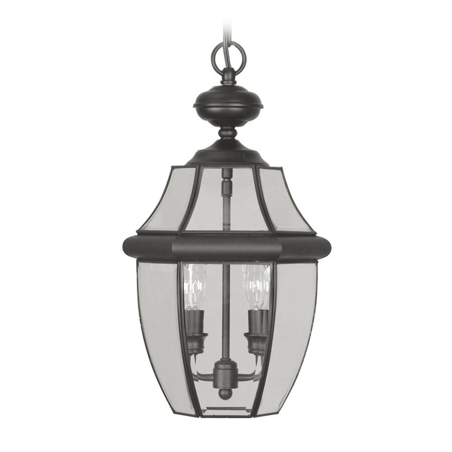 Outdoor Hanging Lanterns Lowes: Livex Lighting Monterey Black Traditional Clear Glass
