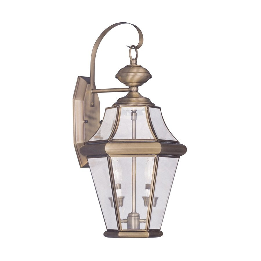 Livex Lighting Georgetown 20.75-in H Antique Brass Outdoor Wall Light