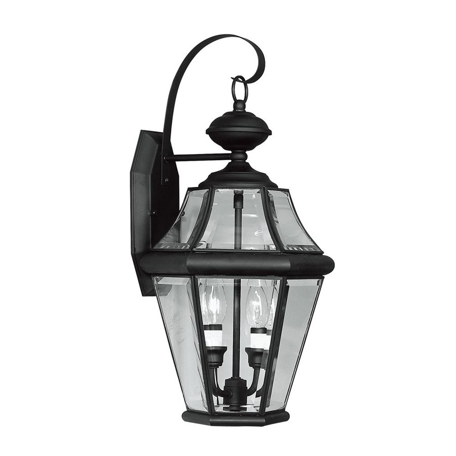 Livex Lighting Georgetown 20.75-in H Black Candelabra Base (E-12) Outdoor Wall Light