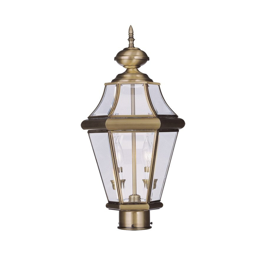 Livex Lighting Georgetown 21-in H Antique Brass Post Light