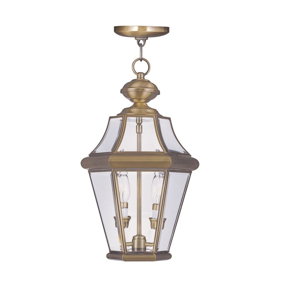 Livex Lighting Georgetown 18.75-in Antique Brass Outdoor Pendant Light