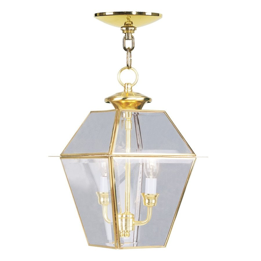 Livex Lighting Westover 15-in Polished Brass Outdoor Pendant Light