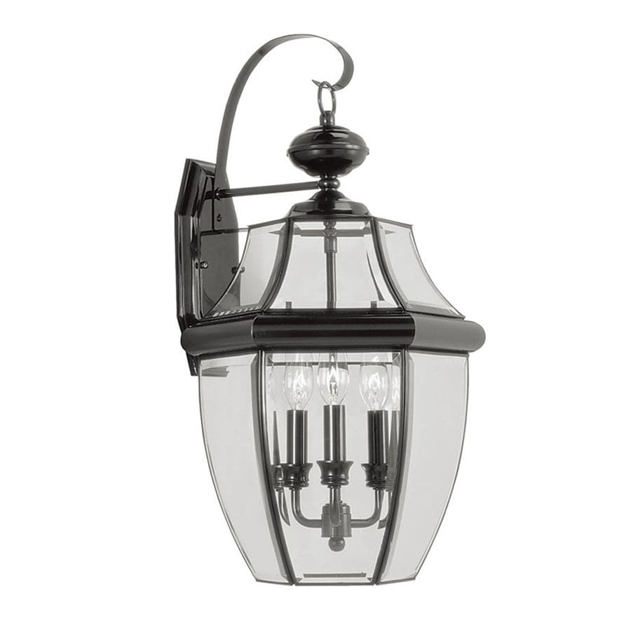 Shop Livex Lighting Monterey H Black Outdoor Wall Light At
