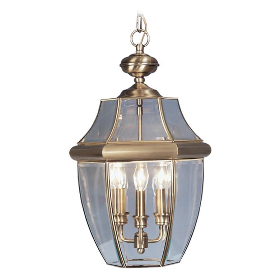 Shop livex lighting monterey 21 in antique brass outdoor Outdoor pendant lighting