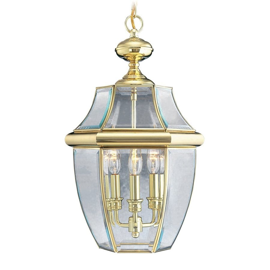 Livex Lighting Monterey 21-in Polished Brass Outdoor Pendant Light