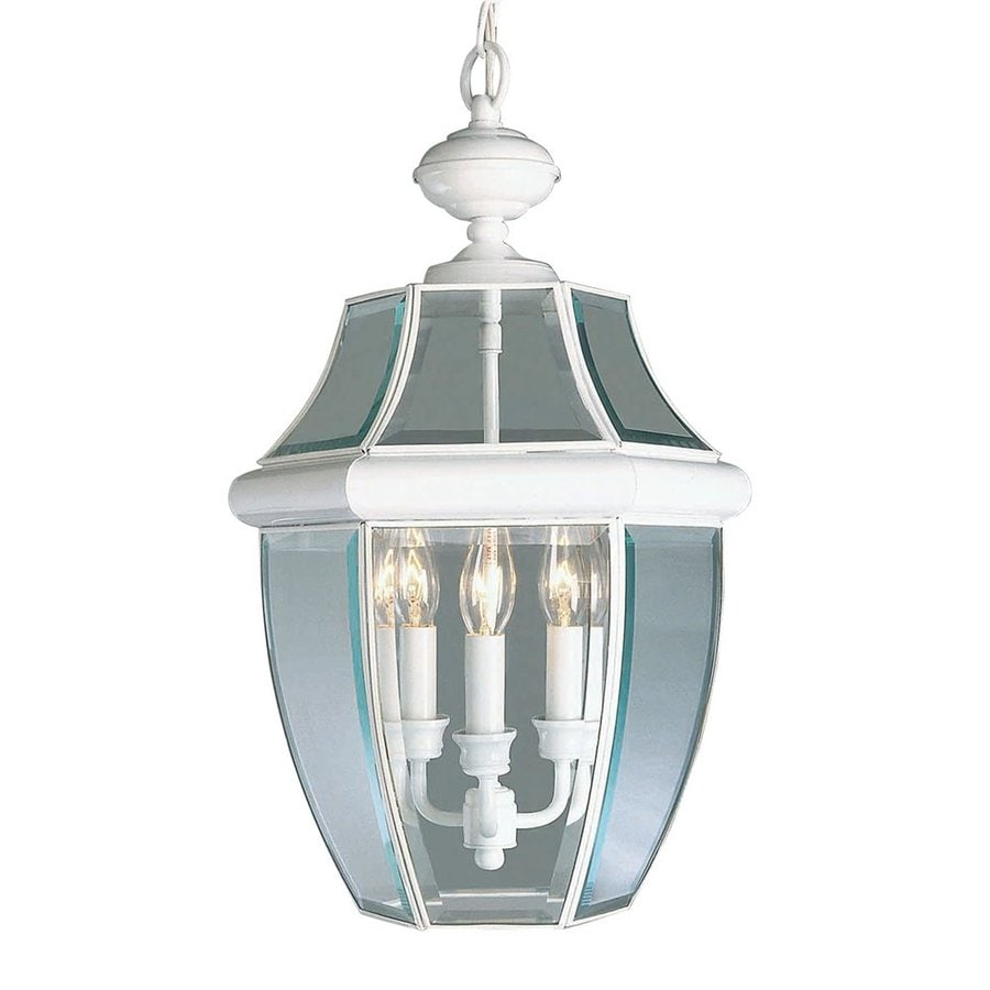 Outdoor Hanging Lanterns Lowes: Livex Lighting Monterey White Traditional Beveled Glass