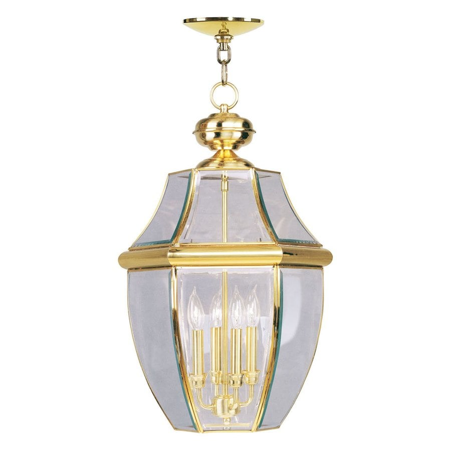 Livex Lighting Monterey 25.5-in Polished Brass Outdoor Pendant Light