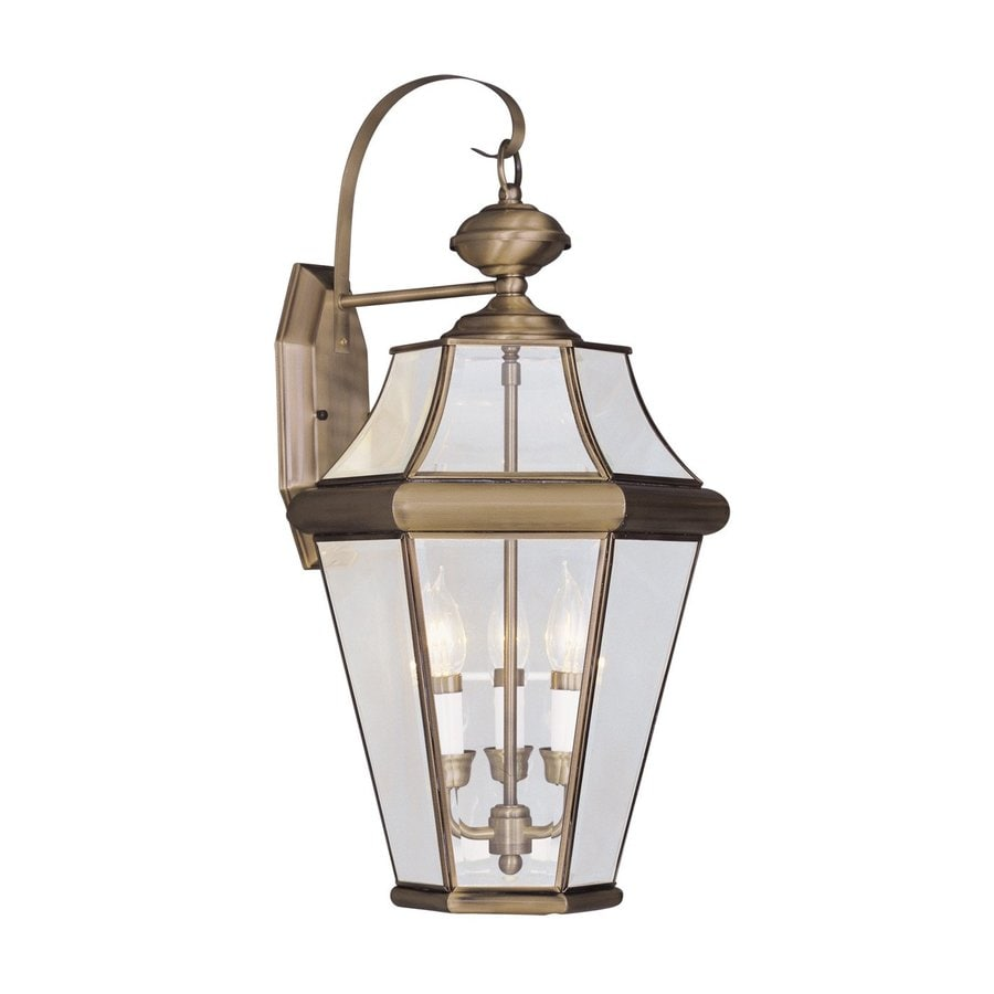 Shop Livex Lighting Georgetown 24-in H Antique Brass Outdoor Wall Light at Lowes.com