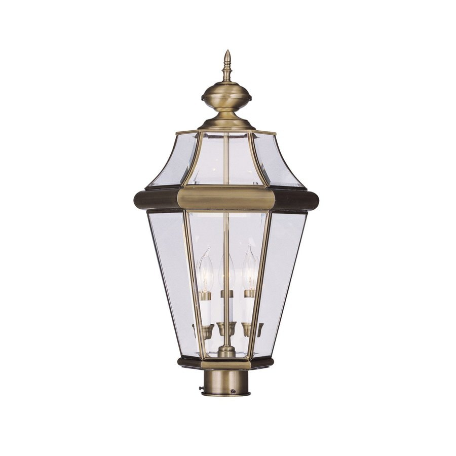 Livex Lighting Georgetown 23.75-in H Antique Brass Post Light