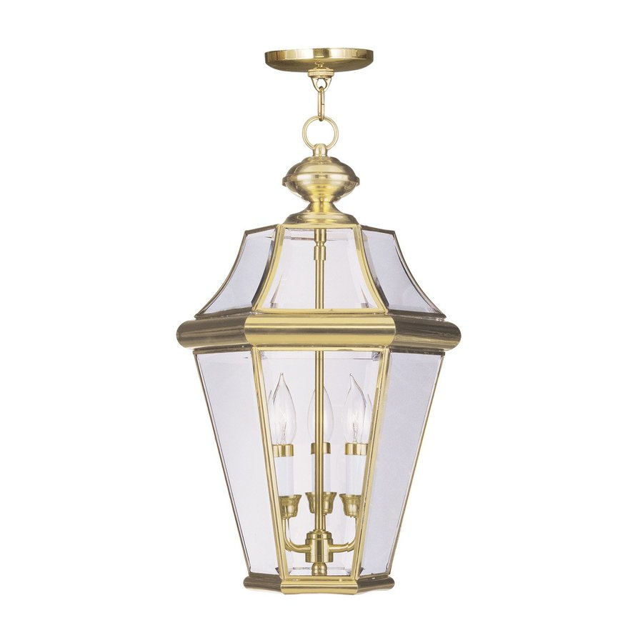 Livex Lighting Georgetown 21-in Polished Brass Outdoor Pendant Light