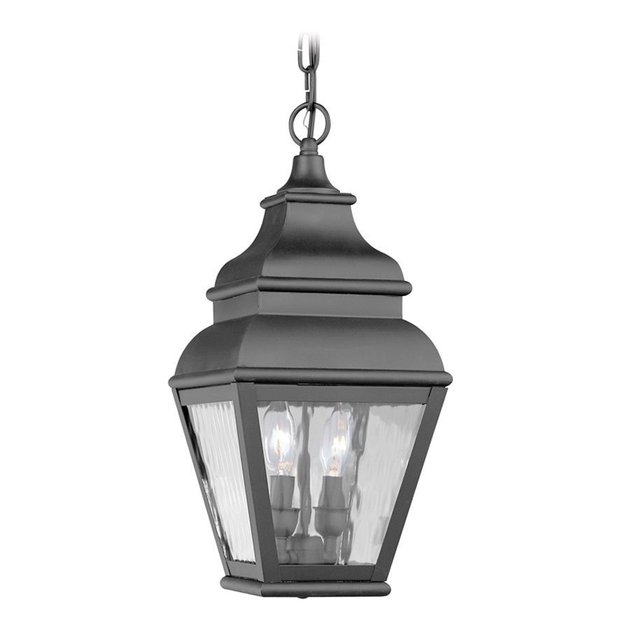 Outdoor Hanging Lanterns Lowes: Livex Lighting Exeter Black Mini Traditional Textured