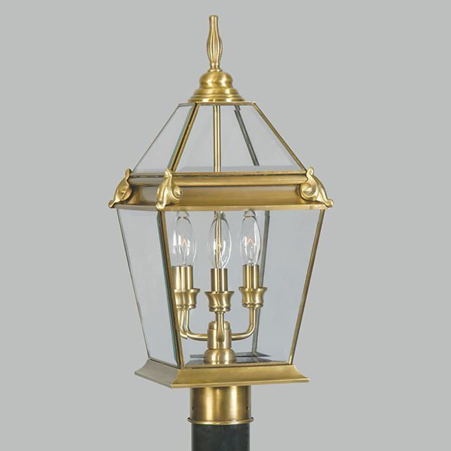 Livex Lighting Fleur De Lis 21-in H Flemish Brass Post Light
