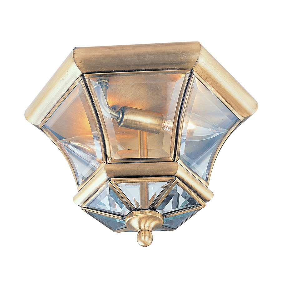 Livex Lighting Monterey 10.5-in W Antique Brass Outdoor Flush-Mount Light
